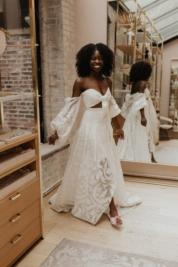 Rue de Seine Hayden boho long sleeve wedding dress