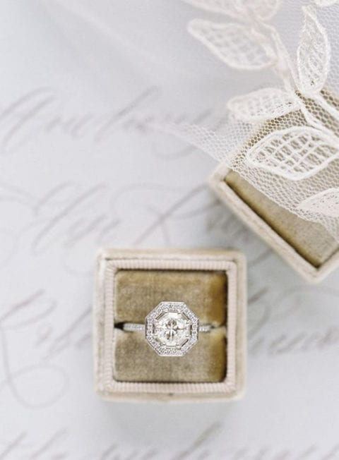 lovelybride engagementring octagonhalo greylikesweddings