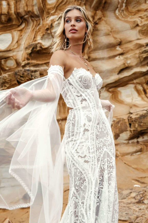 lovers society holden sleeves with byron lace wedding dress